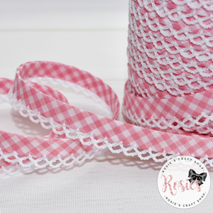 12mm Pink Gingham Pre-Folded Bias Binding with Scallop Lace Edge - Rosie's Craft Shop Ltd