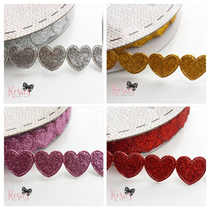 15mm Glitter Heart Trim - Rosie's Craft Shop Ltd