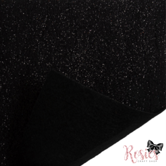 Black Glitter Acrylic Felt Fabric - Rosie's Craft Shop Ltd