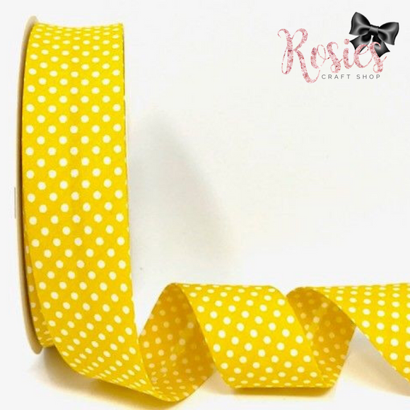 30mm Yellow with White Polka Dot Polycotton Bias Binding