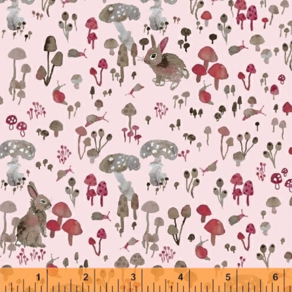 Rabbits and Toadstools on Pink - Enchanted Forest by Windham Fabrics 100% Cotton Fabric - Rosie's Craft Shop Ltd