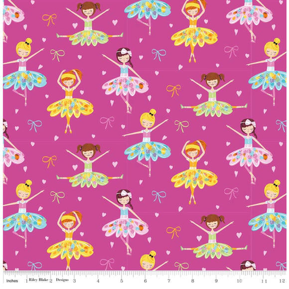 Pink Ballerina Girls - Ballerina Bows by Riley Blake - 100% Cotton Fabric - Rosie's Craft Shop Ltd