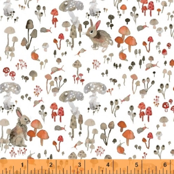 Rabbits and Toadstools on White - Enchanted Forest by Windham Fabrics 100% Cotton Fabric - Rosie's Craft Shop Ltd