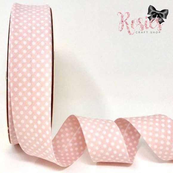30mm Pale Pink with White Polka Dot Polycotton Bias Binding