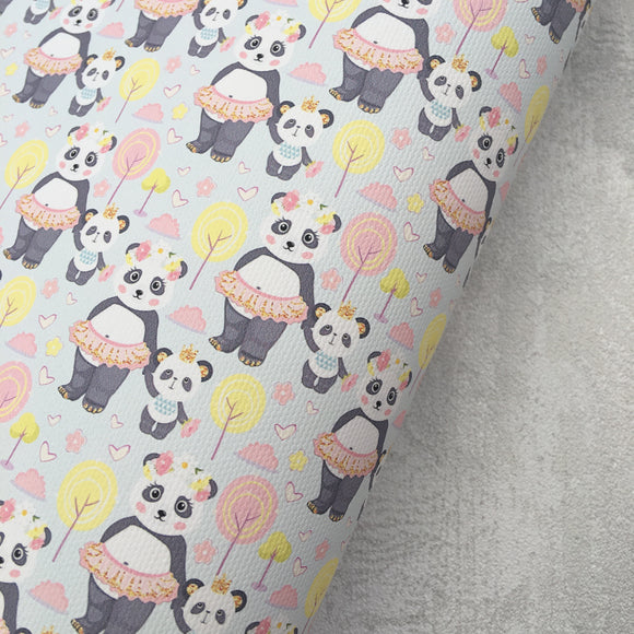Tutu Cute Pandas Premium Printed Fabric - Cotton Weave - Rosie's Craft Shop Ltd