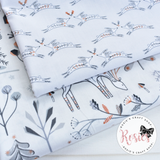 Woodland Hare Copper Metallic - Winterfold by Dashwood Studio 100% Cotton Fabric - Rosie's Craft Shop Ltd