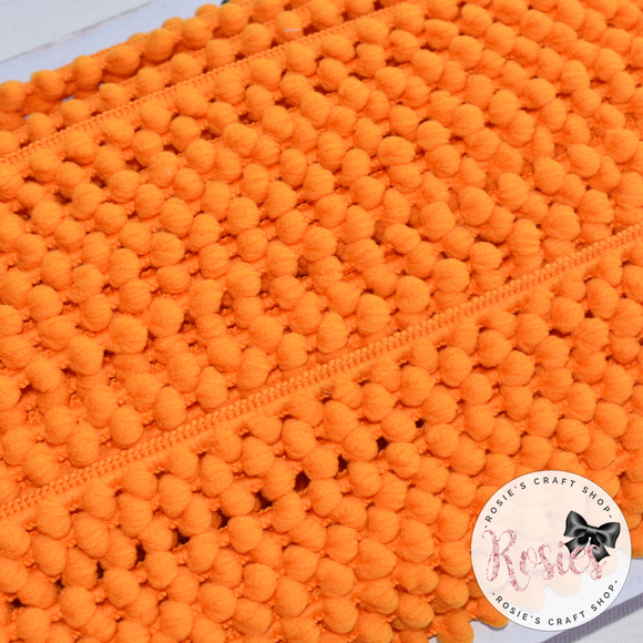 Orange Mini Pom Pom Trim - Rosie's Craft Shop Ltd