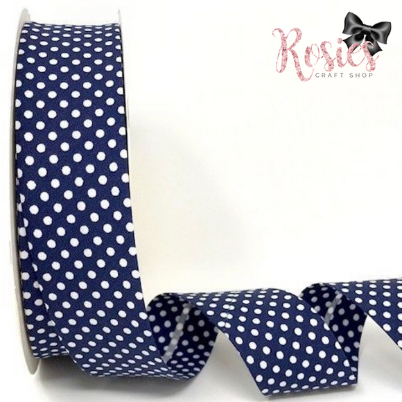 30mm Navy with White Polka Dot Polycotton Bias Binding