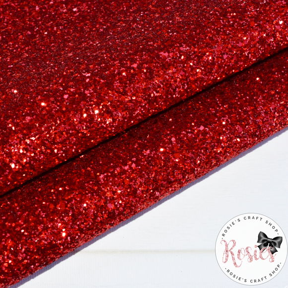 Red Chunky Glitter Fabric - Luxury Core Collection - Rosie's Craft Shop Ltd