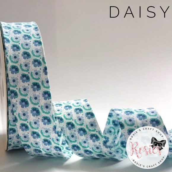 30mm Green & Aqua Daisy Print 100% Cotton Bias Binding