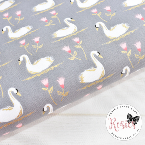 Grey Metallic Swans Designer Fabric Felt - Rosie's Craft Shop Ltd