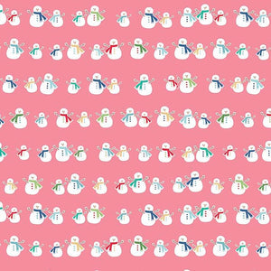 Mini Snowmen Pink - Cozy Christmas by Riley Blake - 100% Cotton Fabric - Rosie's Craft Shop Ltd