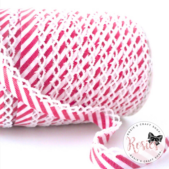 12mm Red Candy Stripe Pre-Folded Bias Binding with Scallop Lace Edge - Rosie's Craft Shop Ltd