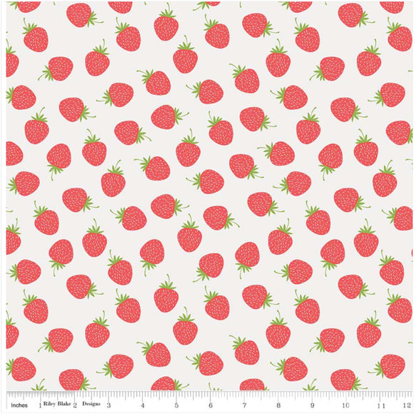 White Strawberries Designer Fabric Felt - Butterflies & Berries - Rosie's Craft Shop Ltd