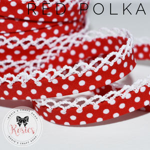 12mm Red Polka Dot Pre-Folded Bias Binding with Scallop Lace Edge - Rosie's Craft Shop Ltd