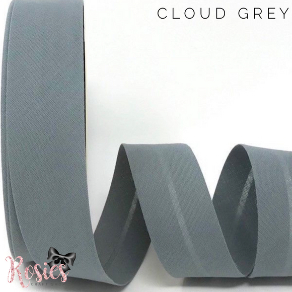 30mm Cloud Grey Plain Polycotton Bias Binding - Rosie's Craft Shop Ltd
