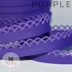 12mm Purple Plain Pre-Folded Bias Binding with Scallop Lace Edge - Rosie's Craft Shop Ltd