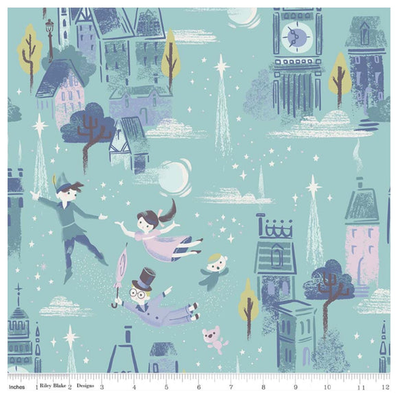 Neverland Main in Mint By Riley Blake - 100% Cotton Fabric - Rosie's Craft Shop Ltd