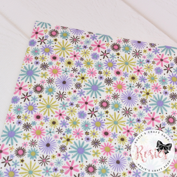 Purple and Green Daisy Floral - Fabric Felt - Rosie's Craft Shop Ltd
