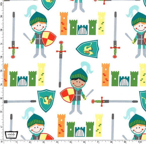 White Knights and Castles - Good Knight by Michael Miller - 100% Cotton Fabric - Rosie's Craft Shop Ltd