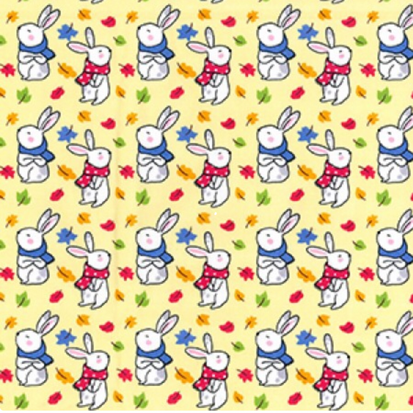 Little Bunnies in Scarves on Lemon 100% Cotton Fabric - Rosie's Craft Shop Ltd
