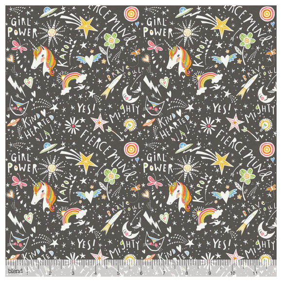 Unicorn Word Power Grey Designer Fabric Felt - Rosie's Craft Shop Ltd