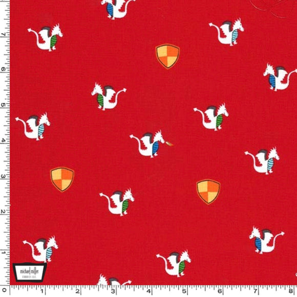 Red Dragons and Shields by Michael Miller - 100% Cotton Fabric - Rosie's Craft Shop Ltd