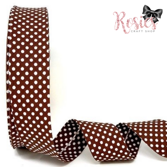 30mm Chocolate Brown with White Polka Dot Polycotton Bias Binding
