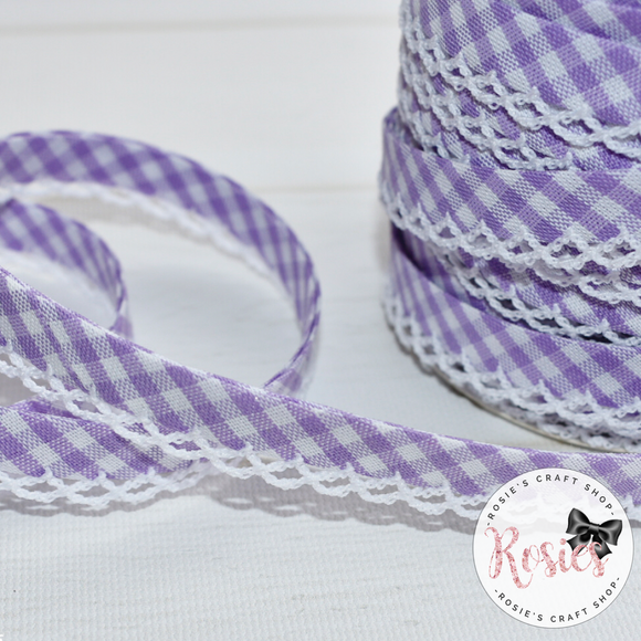 12mm Lilac Gingham Pre-Folded Bias Binding with Scallop Lace Edge - Rosie's Craft Shop Ltd
