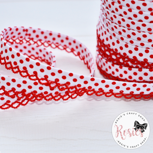 12mm White with Red Polka Dots Pre-Folded Bias Binding with Scallop Lace Edge - Rosie's Craft Shop Ltd