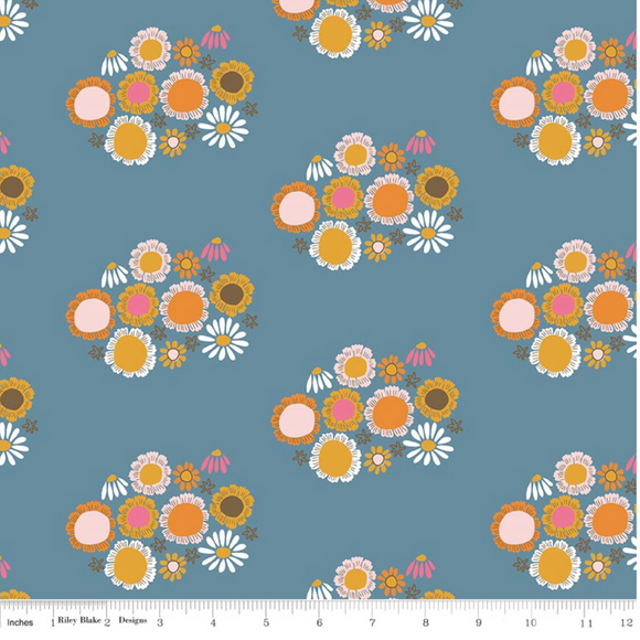Dark Blue Guinevere Flowers - Guinevere by Riley Blake - 100% Cotton Fabric - Rosie's Craft Shop Ltd