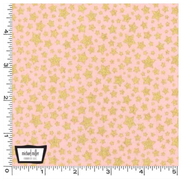 Pink Gold Metallic Stars - Starbright by Michael Miller 100% Cotton Fabric or Fabric Felt - Rosie's Craft Shop Ltd