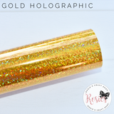Gold Holographic Sparkle Iron On Vinyl HTV - Rosie's Craft Shop Ltd