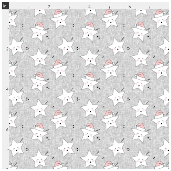 Sleeping Stars on Grey Artisan Fabric Felt - Rosie's Craft Shop Ltd