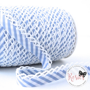 12mm Baby Blue Candy Stripe Pre-Folded Bias Binding with Scallop Lace Edge - Rosie's Craft Shop Ltd