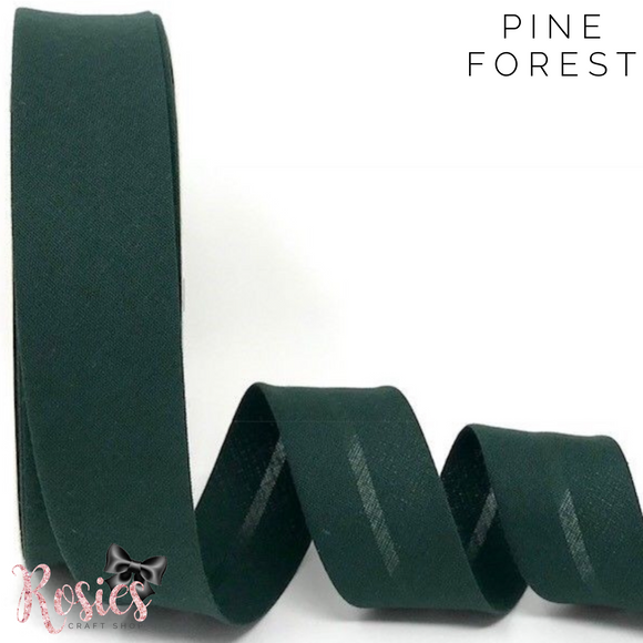 30mm Pine Forest Plain Polycotton Bias Binding - Rosie's Craft Shop Ltd