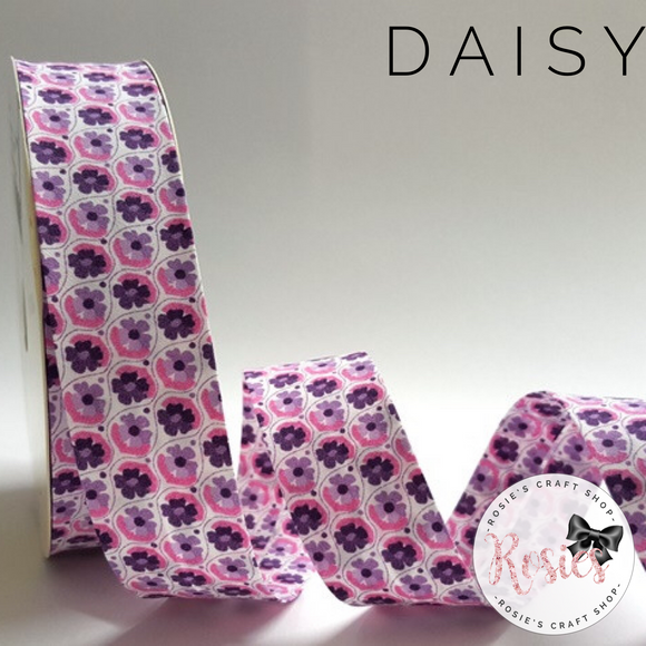 30mm Pink & Purple Daisy Print 100% Cotton Bias Binding