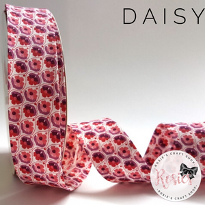 30mm Red & Plum Daisy Print 100% Cotton Bias Binding