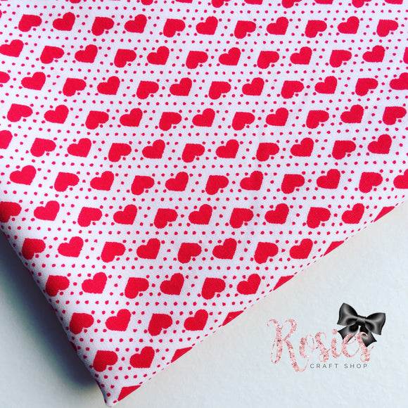 Mini Red Polka Dot Hearts on White 100% Cotton Fabric - Rosie's Craft Shop Ltd
