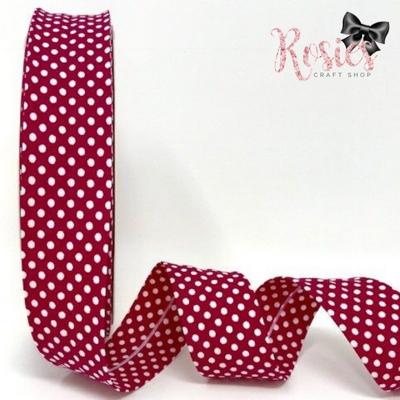 30mm Deep Pink with White Polka Dot Polycotton Bias Binding