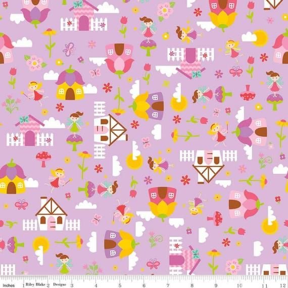 Toadstool Houses Purple - Fairy Garden - Riley Blake Cotton Fabric