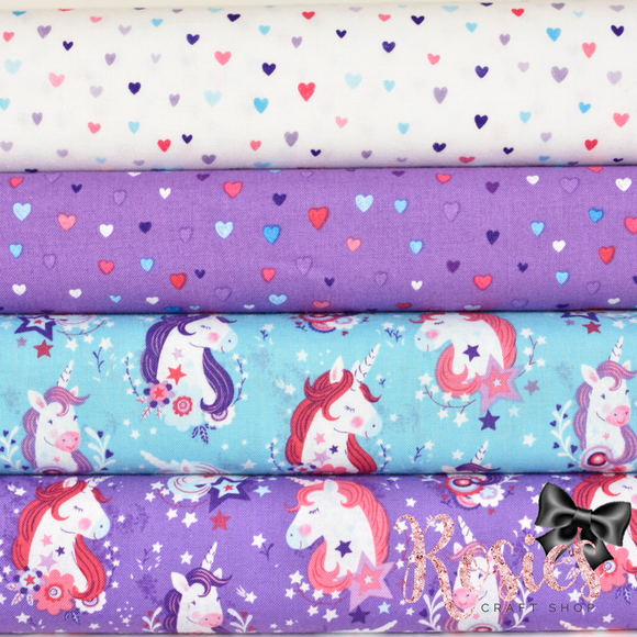 Unicorns Heads and Hearts - Unicorn Kisses by Studio E - 100% Cotton Fabric