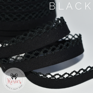 12mm Black Plain Pre-Folded Bias Binding with Scallop Lace Edge - Rosie's Craft Shop Ltd