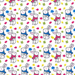 Little Bunnies in Scarves on Ivory 100% Cotton Fabric - Rosie's Craft Shop Ltd