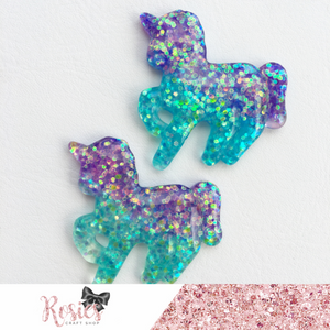 Purple & Aqua Glitter Unicorn Flatbacked Resin Embellishment - Rosie's Craft Shop Ltd