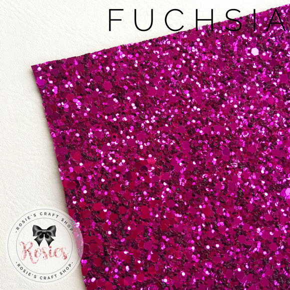Fuchsia Pink Luxury Chunky Glitter Fabric - Classic Collection - Rosie's Craft Shop Ltd