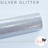 Silver Glitter Iron On Vinyl HTV - Rosie's Craft Shop Ltd