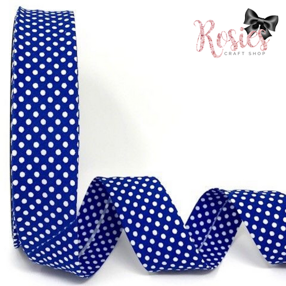 30mm Royal Blue with White Polka Dot Polycotton Bias Binding