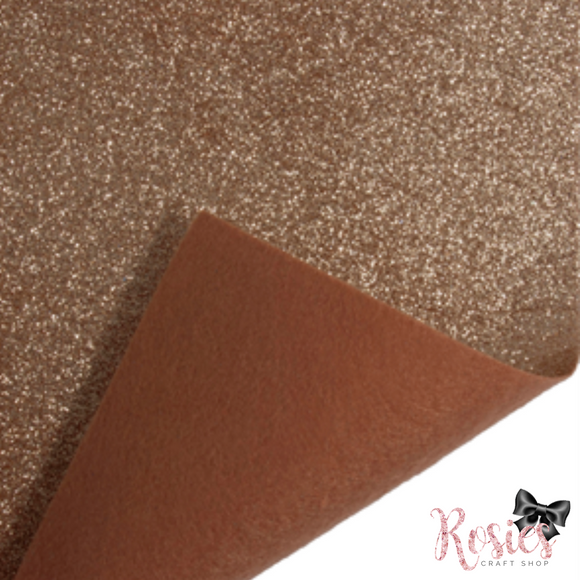 Rose Gold Fine Glitter Acrylic Felt Fabric - Rosie's Craft Shop Ltd