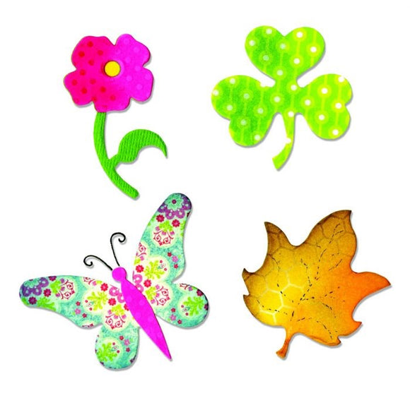 Sizzix Shapes Butterfly, Flower, Leaf & Shamrock Die Bigz A10600 - Rosie's Craft Shop Ltd